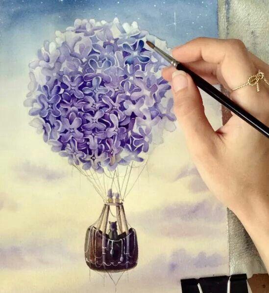 Purple hot air balloon flower