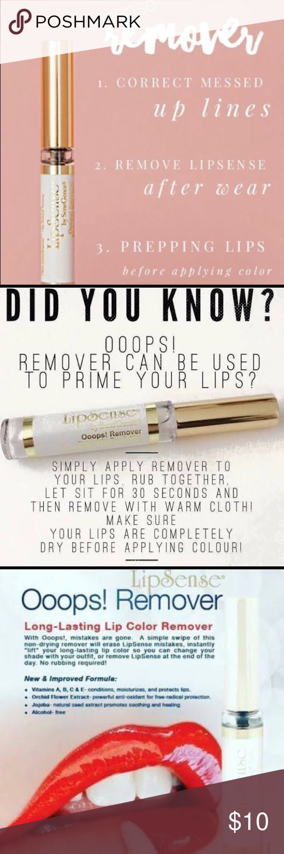 🎉 Lipsense Oops Remover 💋 💋Authentic Lipsense🌟New & Sealed 💋  Lipsense Oops Remover (Price is for one)  Great for prepping & mistakes as well as end of day removal! You Definitely Need this if you don't have any and want to use Lipsense! Lipsense Makeup Lip Balm & Gloss