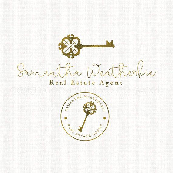 antique key logo real estate logo by stylemesweetdesign on Etsy