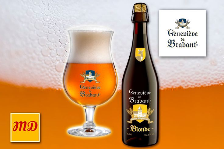 Beer Geneviève de Brabant Blonde. A beer of enticing, warm-hearted simplicity, whose discrete flavour reveals a dry bitterness, all the more pronounced in contrast with the drink's freshness. Very refreshing this well-balanced blond ale is a delight to the palate.