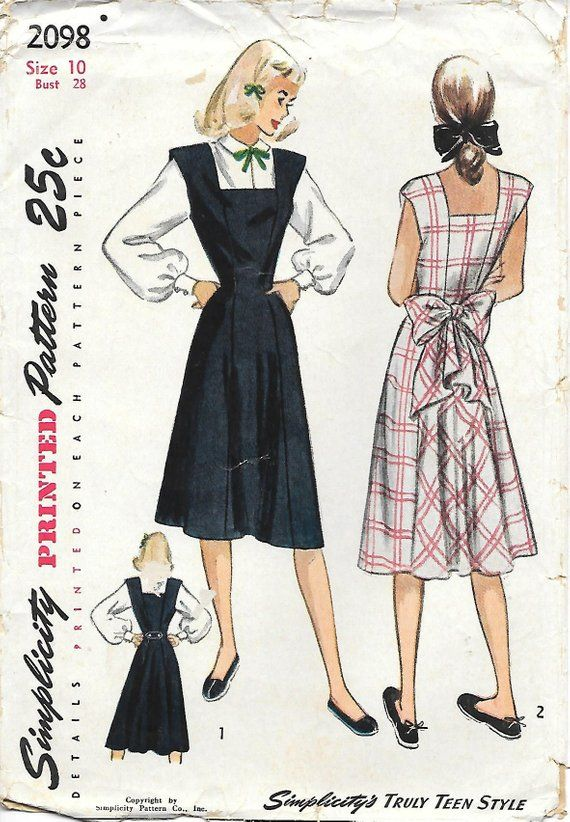 Simplicity 2098 1940 Dart Fitted Blouse And Square Neck Jumper Vintage Sewing Pattern B Sewing Pattern Design Vintage Dress Patterns Simplicity Sewing Patterns
