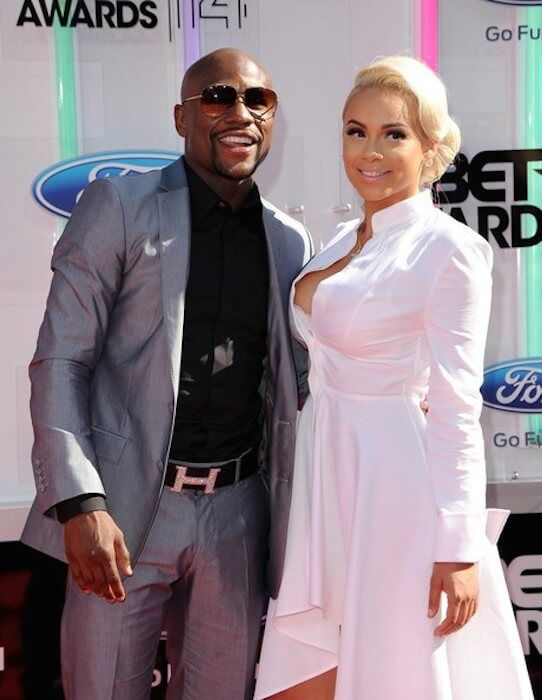 Boxer Floyd Mayweather, Jr. and Doralie Medina at the BET Awards 2014 in Nokia Theatre L.A Live, Los Angeles, California on June 29, 2014...