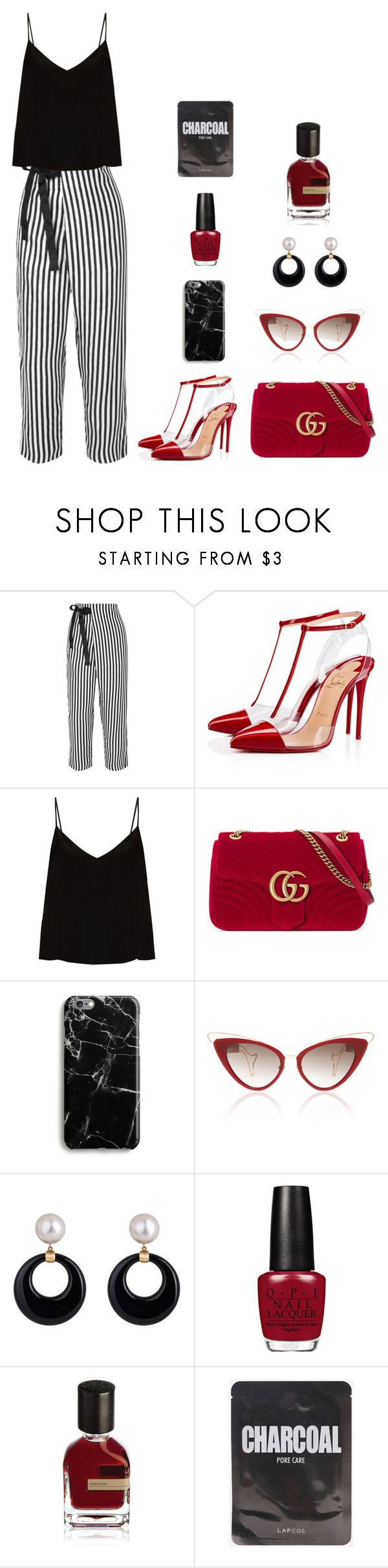 """""""Untitled #458"""" by amandapanda041 ❤ liked on Polyvore featuring J.Crew, Christian Louboutin, Raey, Gucci, Samsung and Orto Parisi"""