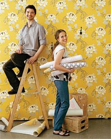 They may look like pros here, but neither Shane nor Meryl had ever wallpapered before working on this story.