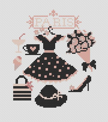 Punto cruz // Shopping in Paris. PDF Cross Stitch Pattern. $4.00, via Etsy. //  Encontrado en etsy.com