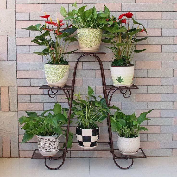 big size 6 pots european balcony and indoor flower pot holder garden flower stand iron flower pergolas