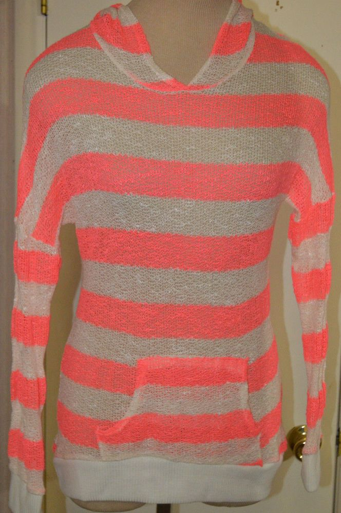 Ladies Rue21 Skater Pink Stripe Long Sleeve Semi-Sheer Hoodie Sweater Size Small #rue21 #KnitTop #Casual
