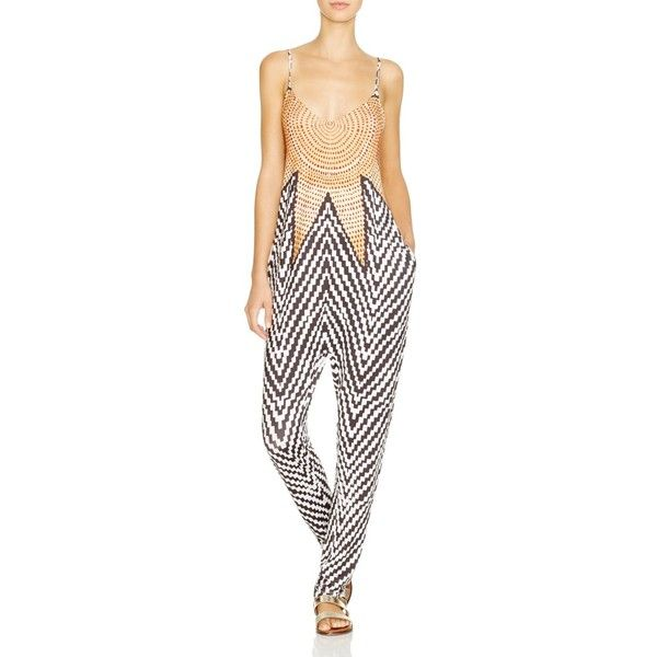 Mara Hoffman Starbasket White Jumpsuit Swim Cover Up ($200) ❤ liked on Polyvore featuring swimwear, cover-ups, starbasket white, white beach cover up, mara hoffman swimwear, white beach wear, white swimwear and white swim cover up