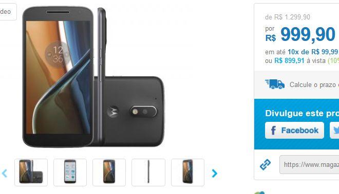 """Motorola Moto G 4ª Geração 16GB Dual Chip 4G Câm. 13MP  Selfie 5MP Tela 5.5"""" << R$ 89991 >>"""