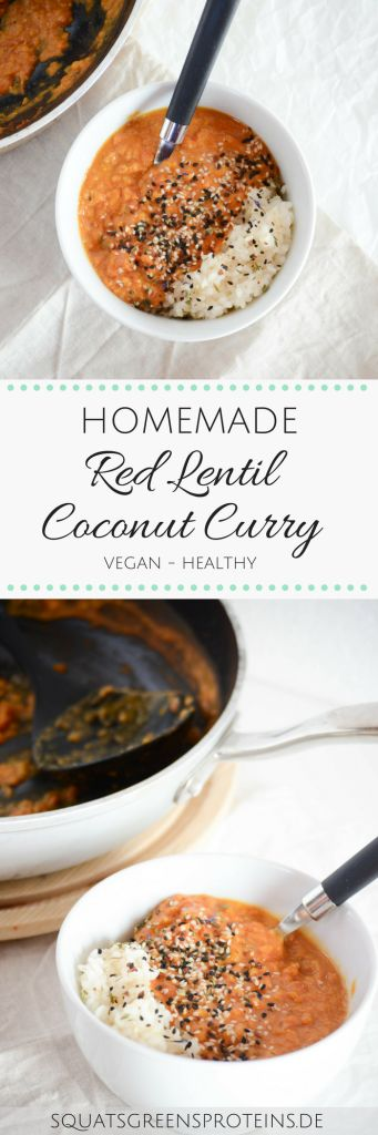 Homemade vegan Red Lentil Coconut Curry - Rotes Linsen Kokos Curry - veganes gesund healthy - Squats, Greens & Proteins