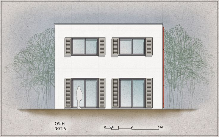 Standardised One-Family House Prototype 130 sqm, South Elevation - www.pzarch.gr