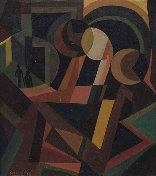 thirdorgan: Soedibio (Indonesian, 1912 - 1980) Abstract with Two Figures 1968