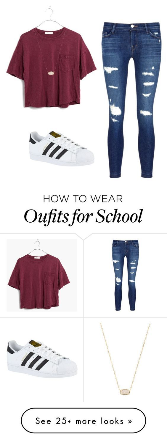 School outfit #1 by e-m-dog on Polyvore featuring J Brand, adidas, Madewell and Kendra Scott | Outfits for School