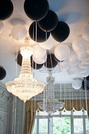 "Black & white balloons, crystal chandelier. Image by One & Only Paris Photography. | Link to original post: ""Wedding in Paris [Safieh+Charles]"" http://oneandonlyparisphotography.com/blog/wedding/3338/"