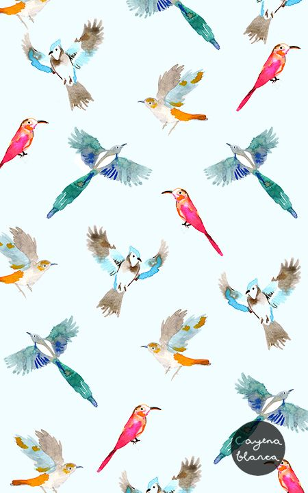 watercolours #birds #pattern