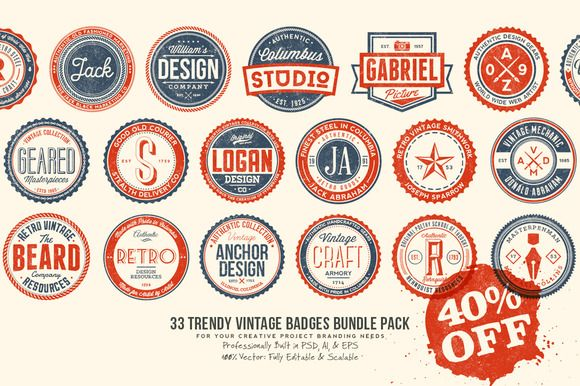 33 Trendy Vintage Badges Bundle Pack by Yusof Mining on Creative Market