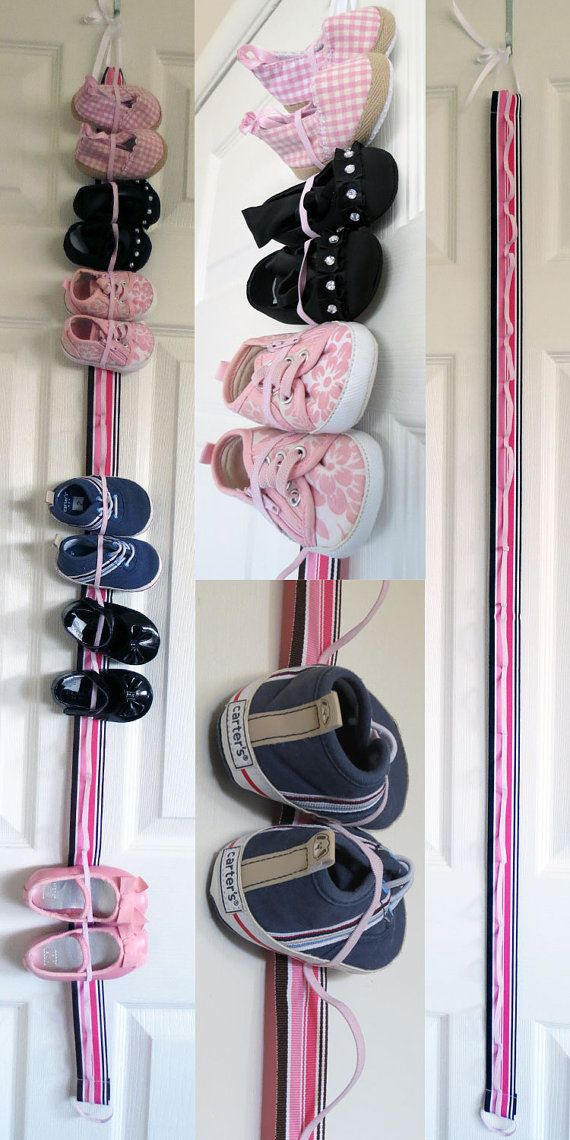 This hanging baby shoe organizer is 4 feet long and stores 9 pairs of baby shoes vertically. Perfect for new born to smaller toddler shoes. The loops