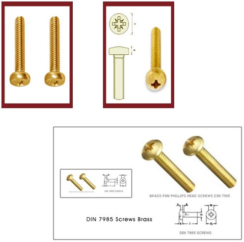 Cross Recessed Pan Head Machine Screws ISO 7045 - DIN 7985 Brass