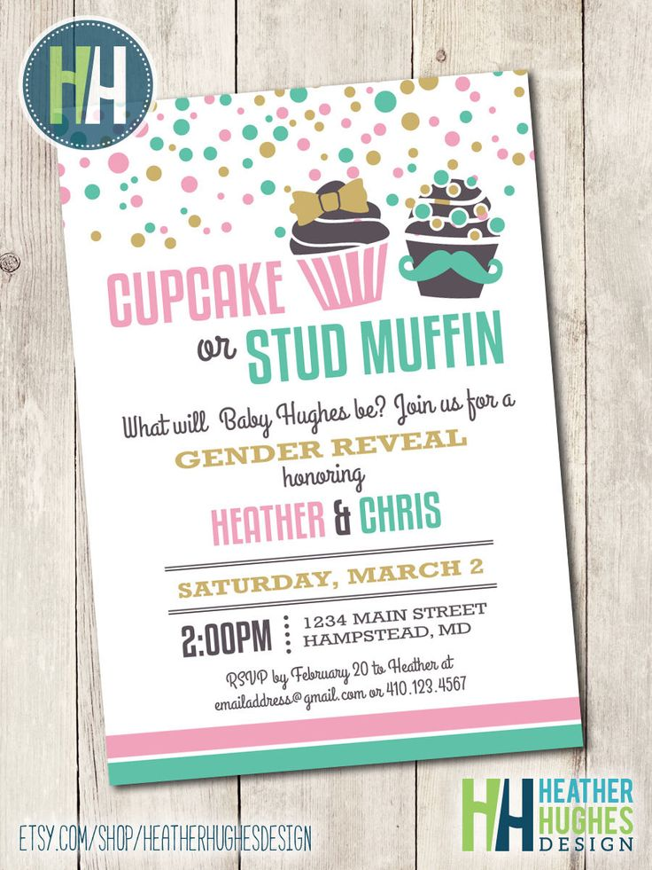 printable gender reveal invitation, cupcake or stud muffin invite confetti mustache bow pink mint gold customize personalize by HeatherHughesDesign on Etsy https://www.etsy.com/listing/235443463/printable-gender-reveal-invitation