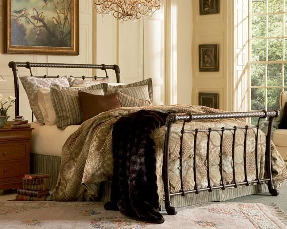 legion iron sleigh bed in ancient gold queen king california king furniture home and patio decor center