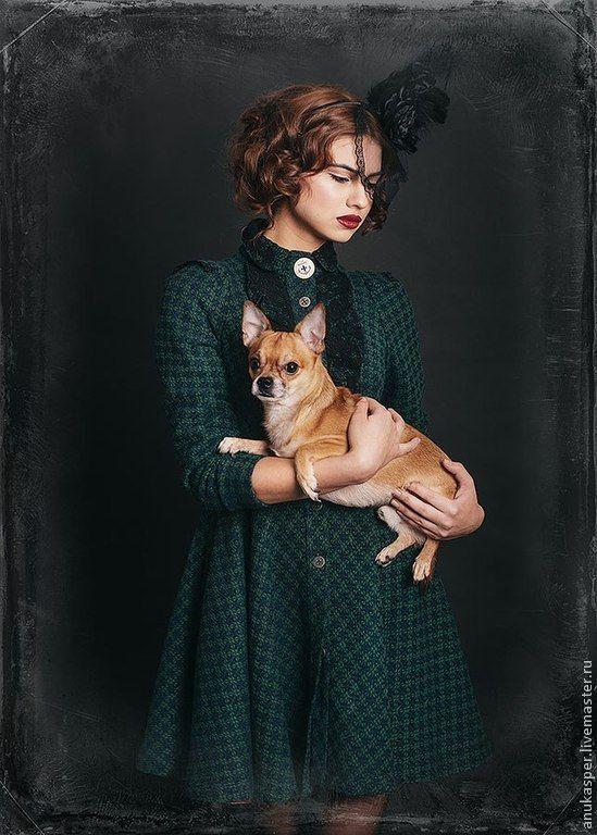 "Buy Dress-coat ""the Green Muse"" - dress, handmade, subtle drape, wool"