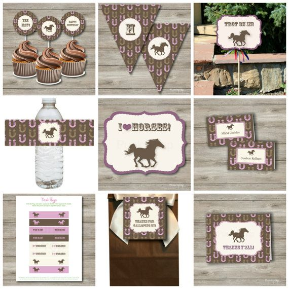 Horse Birthday Party Package Printable Birthday Party by Punkyprep, $14.95