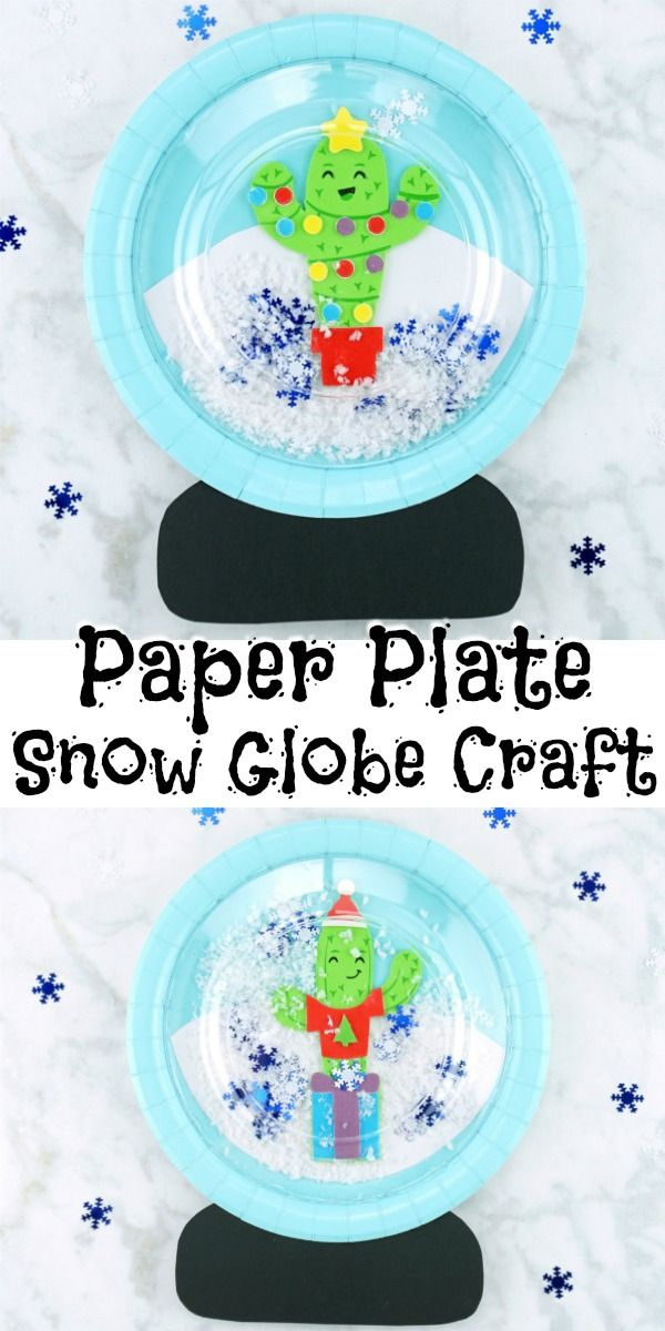 This paper plate snow globe craft is so much fun for kids to play with. The wint…