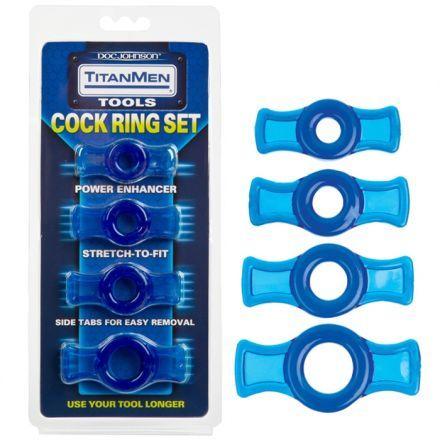 """ENSEMBLE D'ANNEAUX D'ÉRECTION TITANMEN BLEU. Augmentez votre membre avec les anneaux péniens les plus commodes et disponibles à utiliser. Ces TitanMen Tools Cock Rings s'étirent pour s'ajuster facilement à l'aide des onglets de côté. Chaque ensemble contient 4 anneaux variant de la taille de 0.4"""" à 0.75"""", non-tendu. Offert par la boutique érotique (sex shop) La Clé du Plaisir."""