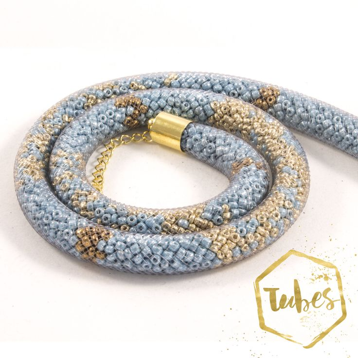 Bead filled Mesh Necklace in turquoise and gold by TubesJewelry on Etsy