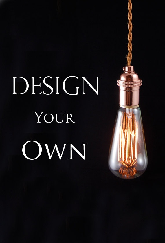 Design your own Custom farmhouse style bare bulb pendant light and Edison bulb. $100.00, via Etsy.