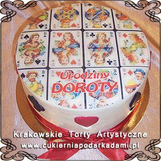 071. Tort z kartami do gry i kokardą na urodzny. Cake with playing cards and bow.