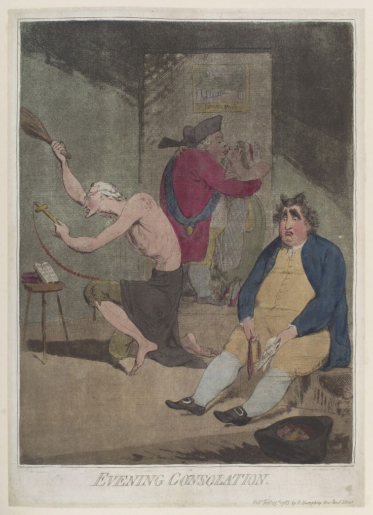 Fox leans back disconsolately in a low chair; in his right hand is an empty purse, in the left 'Pitts Speech'. Beside him in his upturned hat are a dice-box and dice. On the left Burke, stripped to the waist, kneels before his 3-legged stool on which is propped an open book inscribed 'Reform'; he is flagellating himself with a birch-rod, holds a rosary attached to a cross. Behind, as if seen in a camera obscura or through a window, North is embracing a young woman wearing tattered garments.