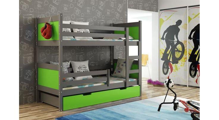 JUSThome LEON Jugendbett Etagenbett Hochbett mit Bettkasten (LxBxH): 190x85x150 cm Graphit Grün