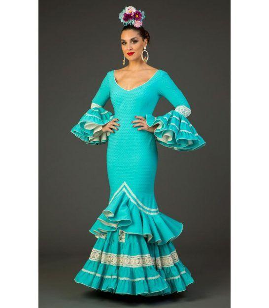 trajes de flamenca 2017 - Aires de Feria - Traje de flamenca Albero Aqua