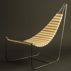"Wooden hammock ""Flux Chair"".  Simple, sleek design by Eins Design."