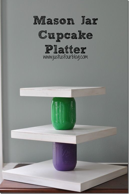 #ad Use mason jars to create a 3 Tier Cupcake Platter #craftyjars