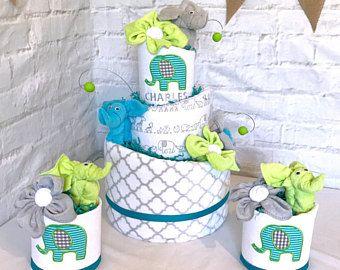 Éléphant de couche gâteau éléphant bébé douche pièce maîtresse éléphant bébé douche décoration gâteau de couches pour cadeau de bébé garçon personnalisé Aqua vert