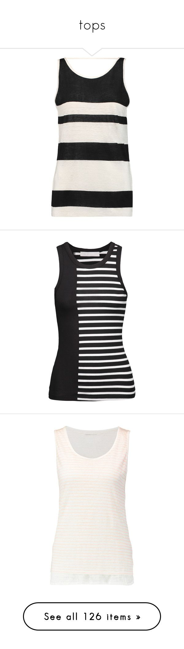 """""""tops"""" by nanette-253 ❤ liked on Polyvore featuring tops, white, linen tank tops, white singlet, striped tank top, white top, striped tank, black, stripe top and slouchy tops"""