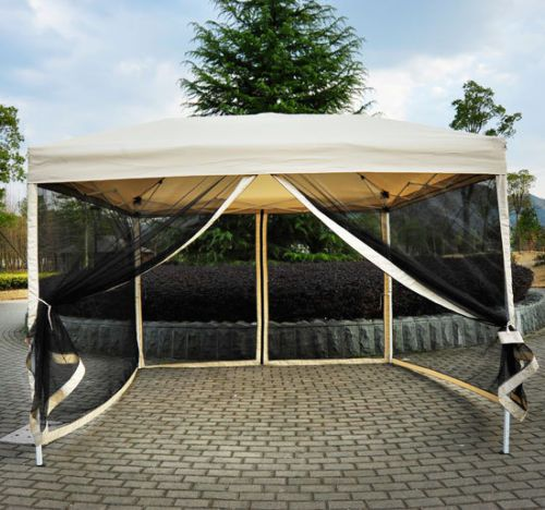 Backyard Canopy With Screens :   Pop Up Tent Mesh Screen Gazebo Popup Canopy Party Patio Shade  Tan