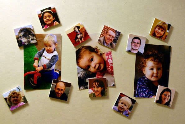 make your own set of magnets featuring the faces of friends, family and pets that your toddler will recognize.     A good size for head shot magnets is 2x2 inches square. Use your favorite photo editing software (Photoshop, Gimp, etc.) to resize and place 6 head shots onto a standard 4x6 print. Print out the prints and then glue them onto foamboard. Cut the foamboard into squares with your X-acto knife and stick a piece of self-adhesive magnet on the back.