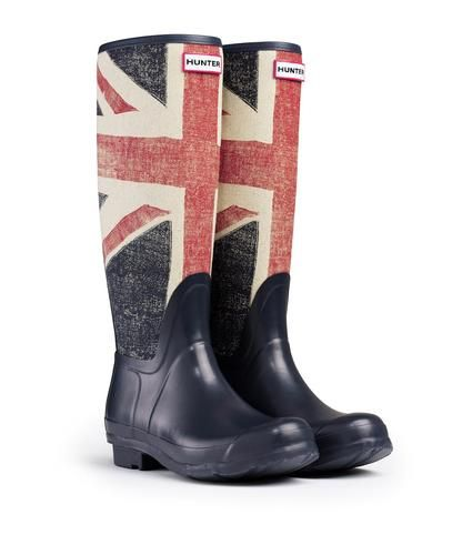 Hunter Original Brit Tall Dark Navy Wellington Boots Welly Union Jack Blue | eBay