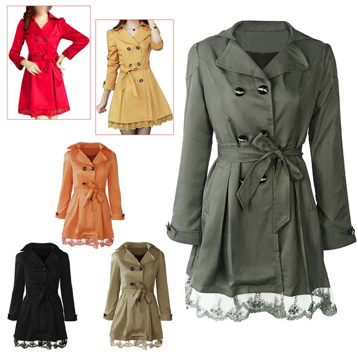Long Sleeve Slim Fit Trench Double Breasted Coat Jacket Outwear