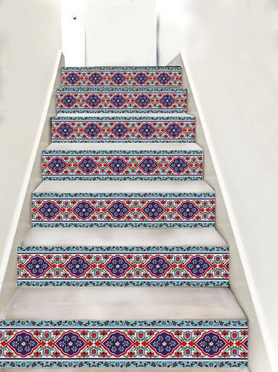 Turkish/Iznik Stair riser decal   10 strips with 120cm by Bleucoin