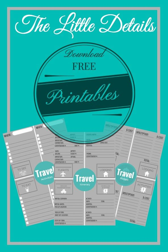 Let The Little Details help you plan for your next vacation with our FREE Travel Planning Printables. Start with the Travel Activities Printable to help get your trip ideas organized, then use the Travel Budget Printable to organize your finances for the trip, and then once everything is confirmed use the Travel Itinerary Printable to put it all together in a neat and organized document.  http://thelittledetails.me/2cents/how-to-plan-your-next-vacation/