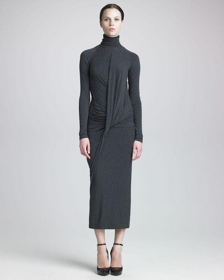 Donna Karan Melange Jersey Tea-Length Dress on thestylecure.com