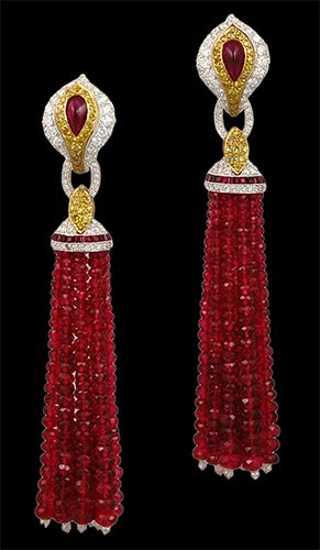 Platinum, Ruby Beads, White and Yellow Diamonds Tassel Earrings