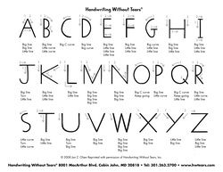 Handwriting without tears free printables-capital, lowercase, and numbers. Strokes and verbal cues!