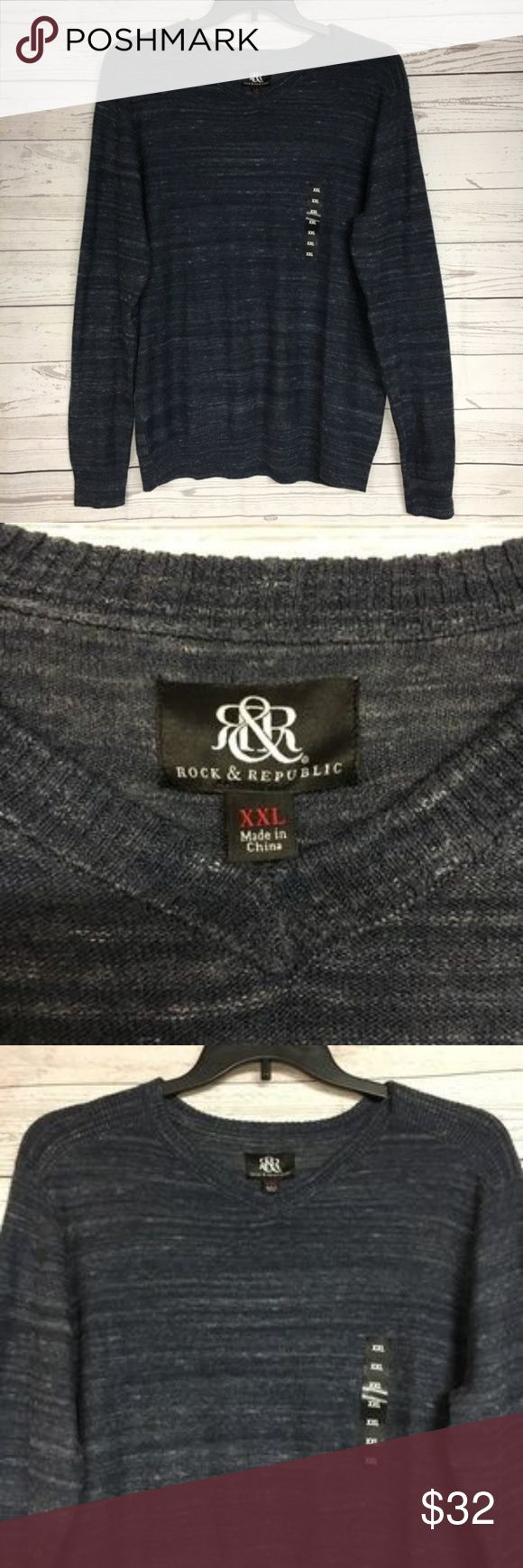 """Rock and Republic Men's V-Neck Sweater Size XXL Rock and Republic Men's V-Neck Sweater Size XXL Blue New NWT  In excellent condition.Please refer to images for more details about this item. If you have any questions please ask. Measurements are taken with the item laying flat.   Armpit to armpit 25"""" Shoulder to hem 29"""" Rock & Republic Sweaters V-Neck"""