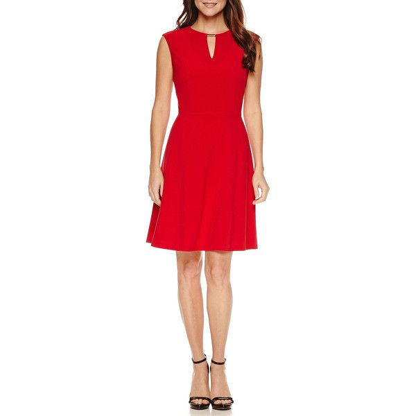 Chelsea Rose Sleeveless Bar Neck Fit N Flare Dress ($40) ❤ liked on Polyvore featuring dresses, no sleeve dress, flared dresses, flared hem dress, flare dress and red flared dress