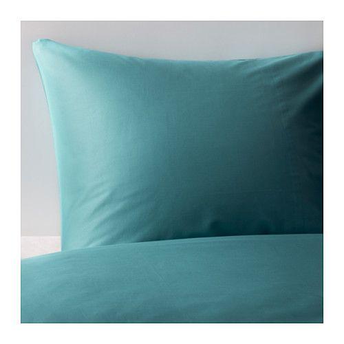 IKEA - GÄSPA, Housse de couette et taie, 150x200/65x65 cm, , Satin de coton tissé pour un linge de lit doux au toucher, avec un aspect soyeux pour agrémenter votre lit.Le coton peigné confère au linge de lit un toucher très doux et une surface lisse agréable contre la peau.Les boutons-pression cachés maintiennent la couette bien en place.